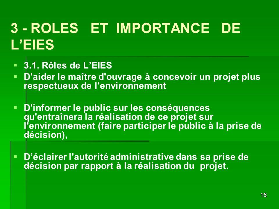 16 3 - ROLES ET IMPORTANCE DE LEIES 3.1. Rôles de LEIES D'aider le maître d'ouvrage à concevoir un projet plus respectueux de l'environnement D'inform