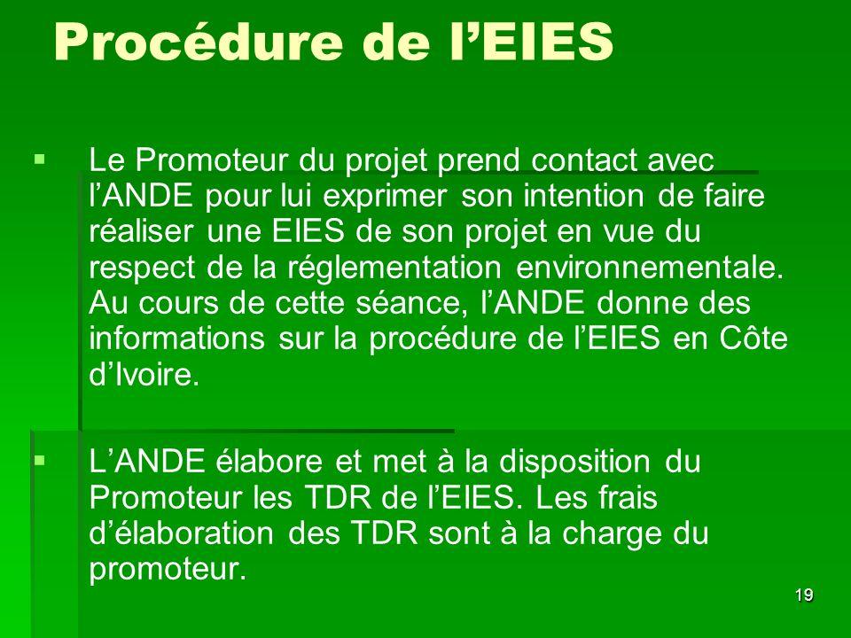 19 Procédure de lEIES Le Promoteur du projet prend contact avec lANDE pour lui exprimer son intention de faire réaliser une EIES de son projet en vue