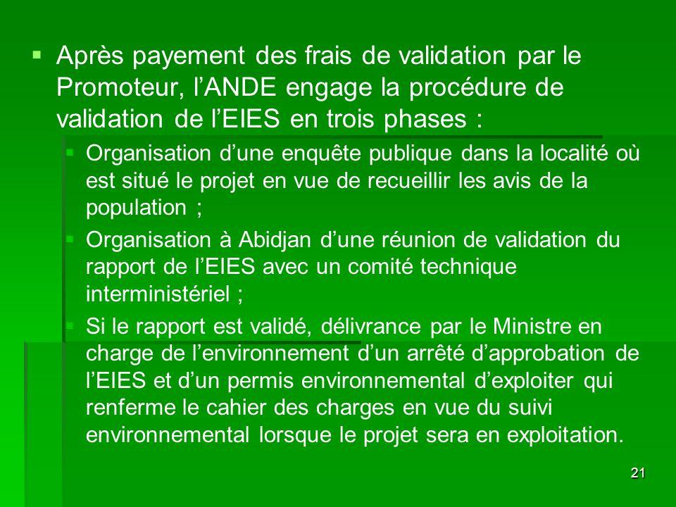 21 Après payement des frais de validation par le Promoteur, lANDE engage la procédure de validation de lEIES en trois phases : Organisation dune enquê