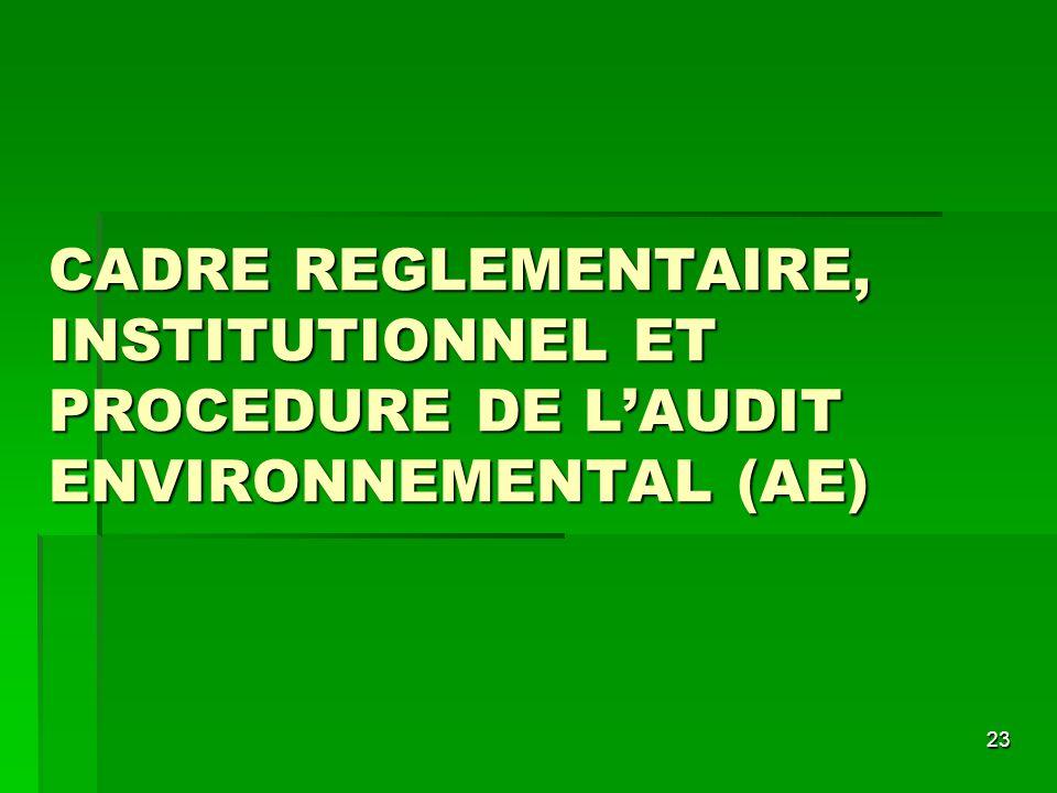 23 CADRE REGLEMENTAIRE, INSTITUTIONNEL ET PROCEDURE DE LAUDIT ENVIRONNEMENTAL (AE)