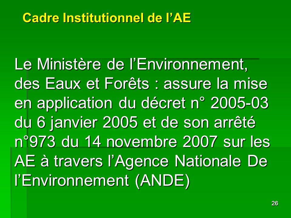 26 Cadre Institutionnel de lAE Le Ministère de lEnvironnement, des Eaux et Forêts : assure la mise en application du décret n° 2005-03 du 6 janvier 20
