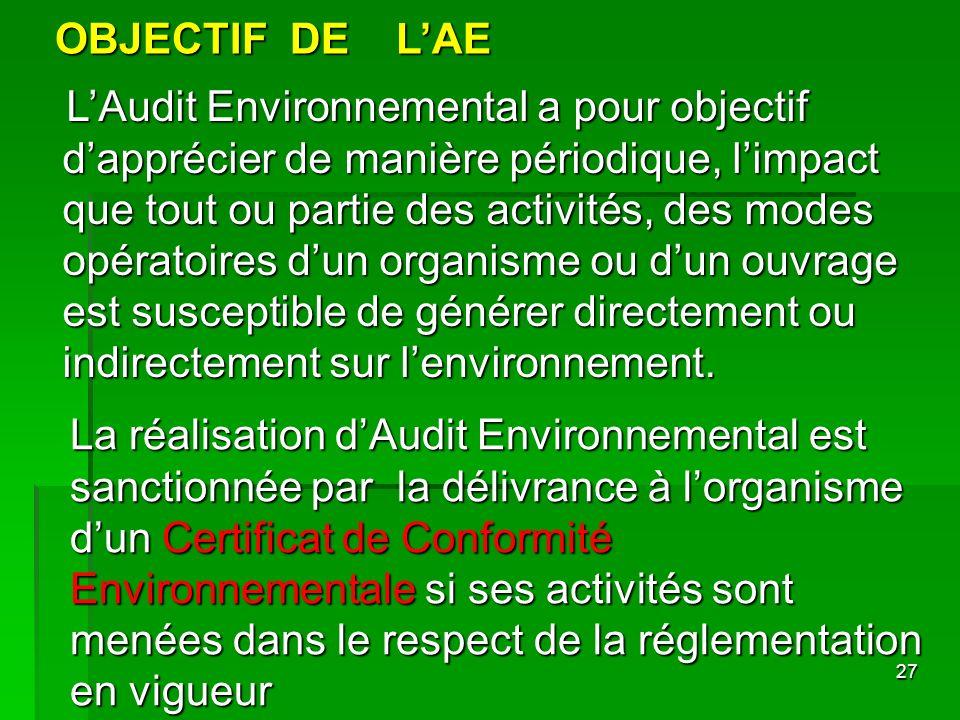 27 OBJECTIF DE LAE LAudit Environnemental a pour objectif dapprécier de manière périodique, limpact que tout ou partie des activités, des modes opérat