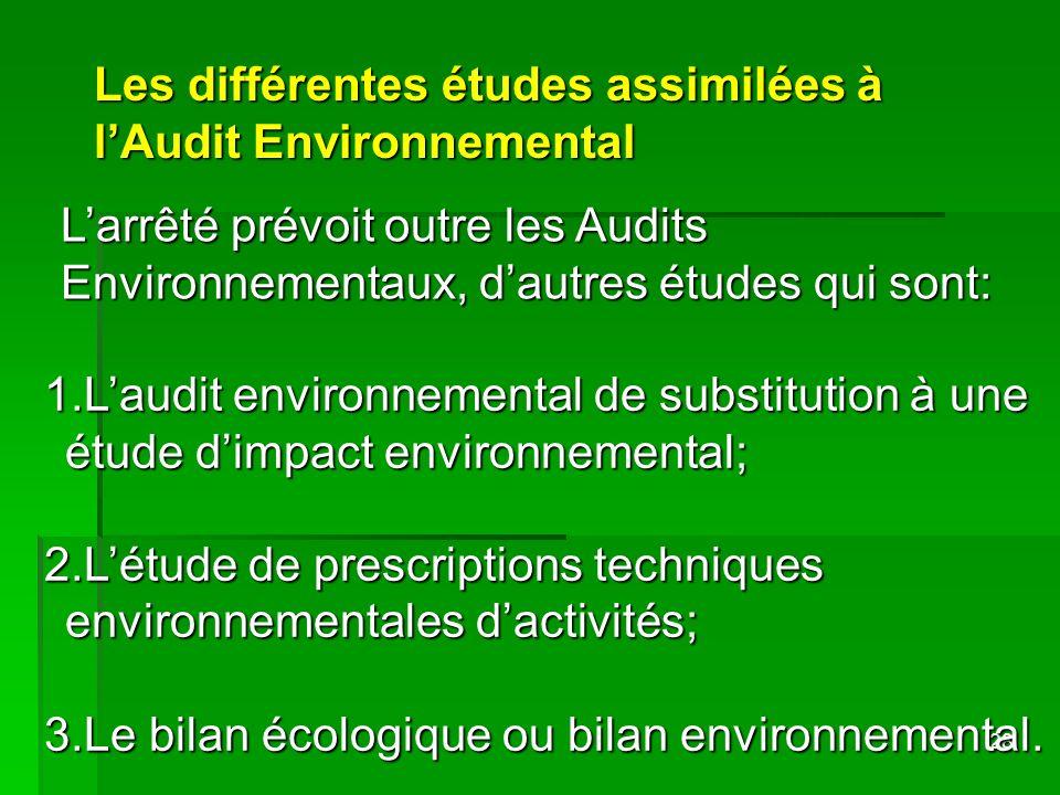 28 Les différentes études assimilées à lAudit Environnemental 1.Laudit environnemental de substitution à une étude dimpact environnemental; 2.Létude d