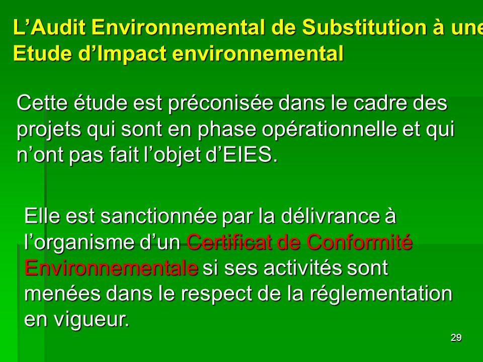 29 LAudit Environnemental de Substitution à une Etude dImpact environnemental Cette étude est préconisée dans le cadre des projets qui sont en phase o