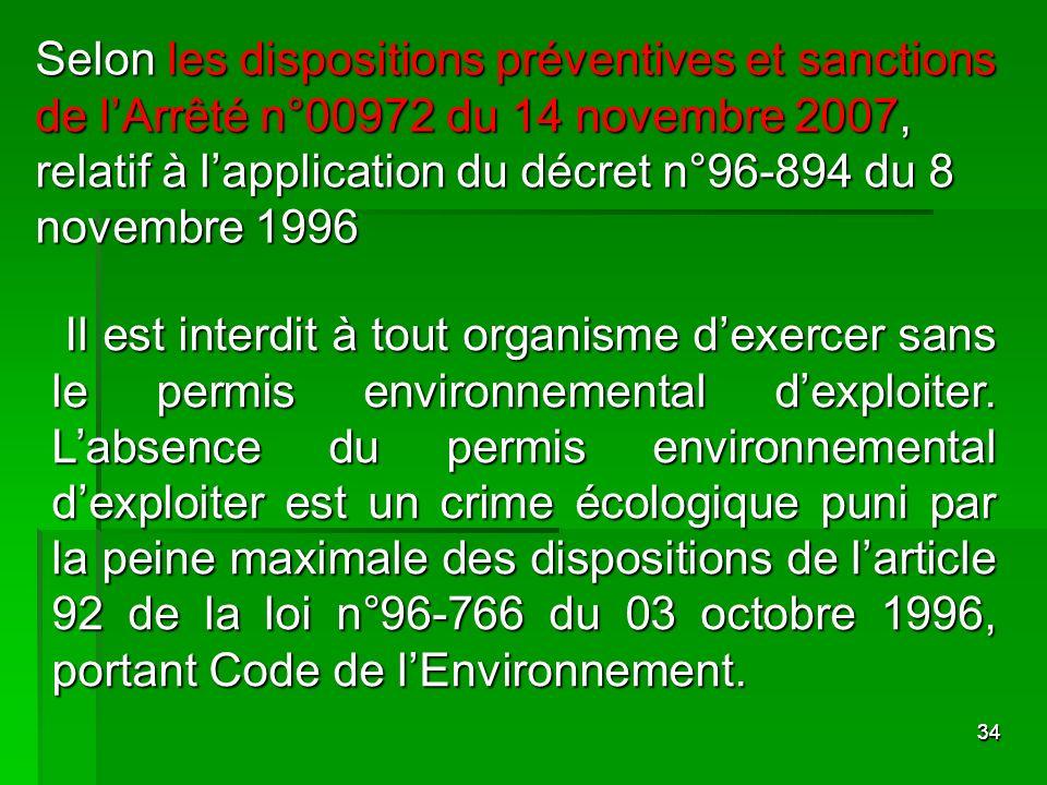 3434 Il est interdit à tout organisme dexercer sans le permis environnemental dexploiter. Labsence du permis environnemental dexploiter est un crime é