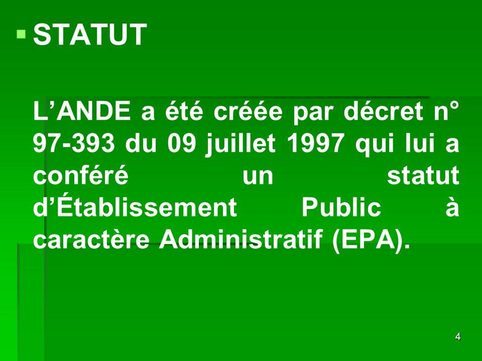 4 STATUT LANDE a été créée par décret n° 97-393 du 09 juillet 1997 qui lui a conféré un statut dÉtablissement Public à caractère Administratif (EPA).