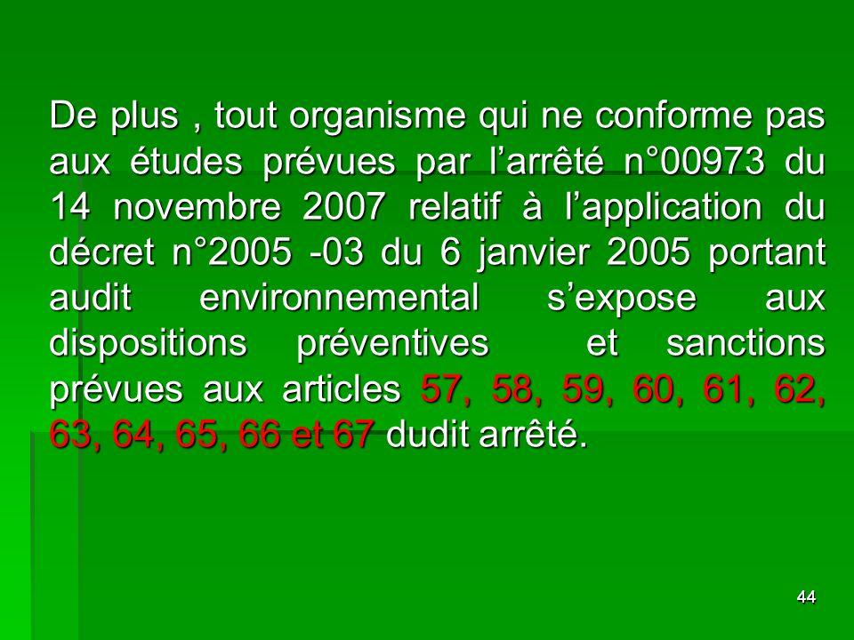 4444 De plus, tout organisme qui ne conforme pas aux études prévues par larrêté n°00973 du 14 novembre 2007 relatif à lapplication du décret n°2005 -0
