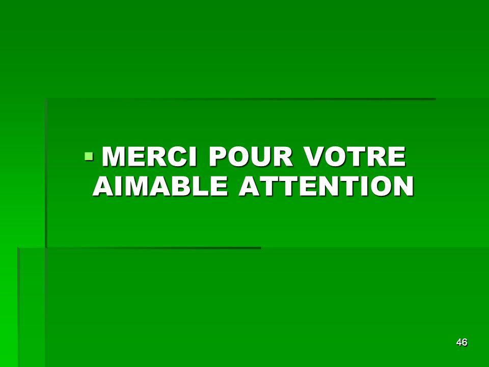 4646 MERCI POUR VOTRE AIMABLE ATTENTION MERCI POUR VOTRE AIMABLE ATTENTION