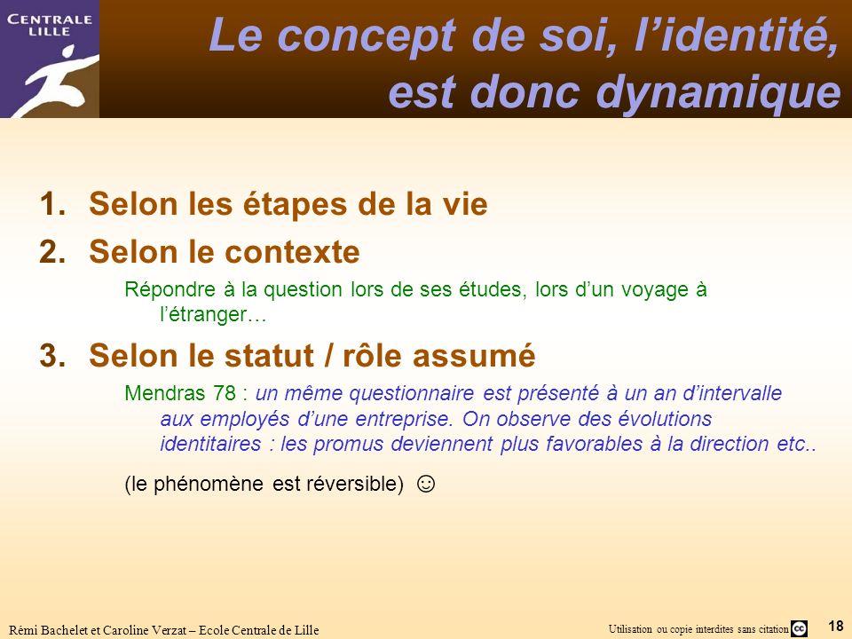 18 Utilisation ou copie interdites sans citation Rémi Bachelet et Caroline Verzat – Ecole Centrale de Lille Le concept de soi, lidentité, est donc dyn