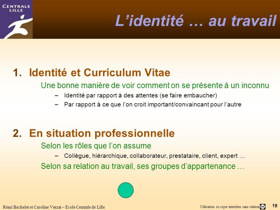 19 Utilisation ou copie interdites sans citation Rémi Bachelet et Caroline Verzat – Ecole Centrale de Lille Lidentité … au travail 1.Identité et Curri