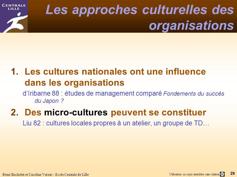 29 Utilisation ou copie interdites sans citation Rémi Bachelet et Caroline Verzat – Ecole Centrale de Lille Les approches culturelles des organisation