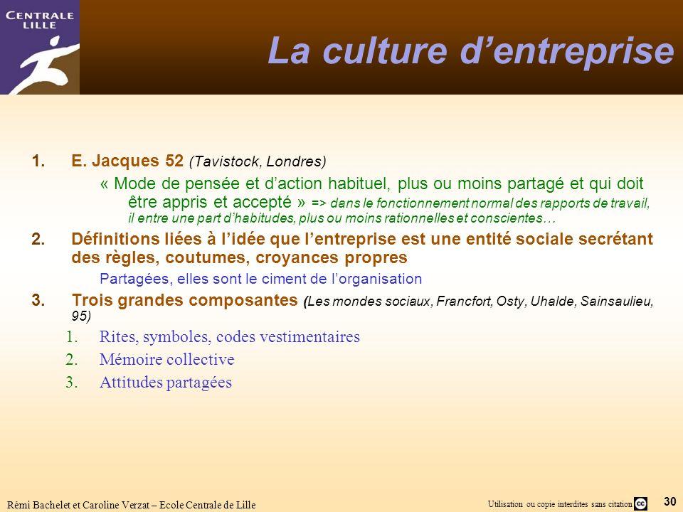 30 Utilisation ou copie interdites sans citation Rémi Bachelet et Caroline Verzat – Ecole Centrale de Lille La culture dentreprise 1.E. Jacques 52 (Ta