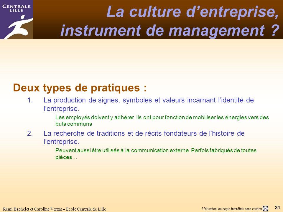 31 Utilisation ou copie interdites sans citation Rémi Bachelet et Caroline Verzat – Ecole Centrale de Lille La culture dentreprise, instrument de management .