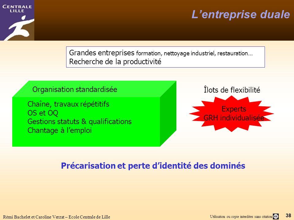 38 Utilisation ou copie interdites sans citation Rémi Bachelet et Caroline Verzat – Ecole Centrale de Lille Lentreprise duale Grandes entreprises form