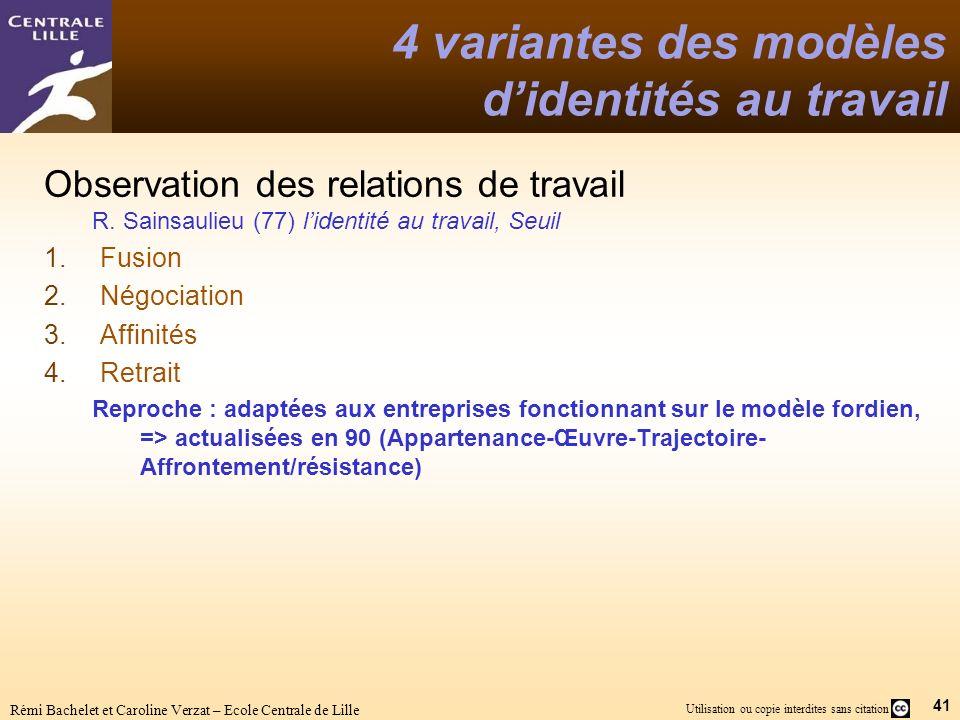 41 Utilisation ou copie interdites sans citation Rémi Bachelet et Caroline Verzat – Ecole Centrale de Lille 4 variantes des modèles didentités au travail Observation des relations de travail R.