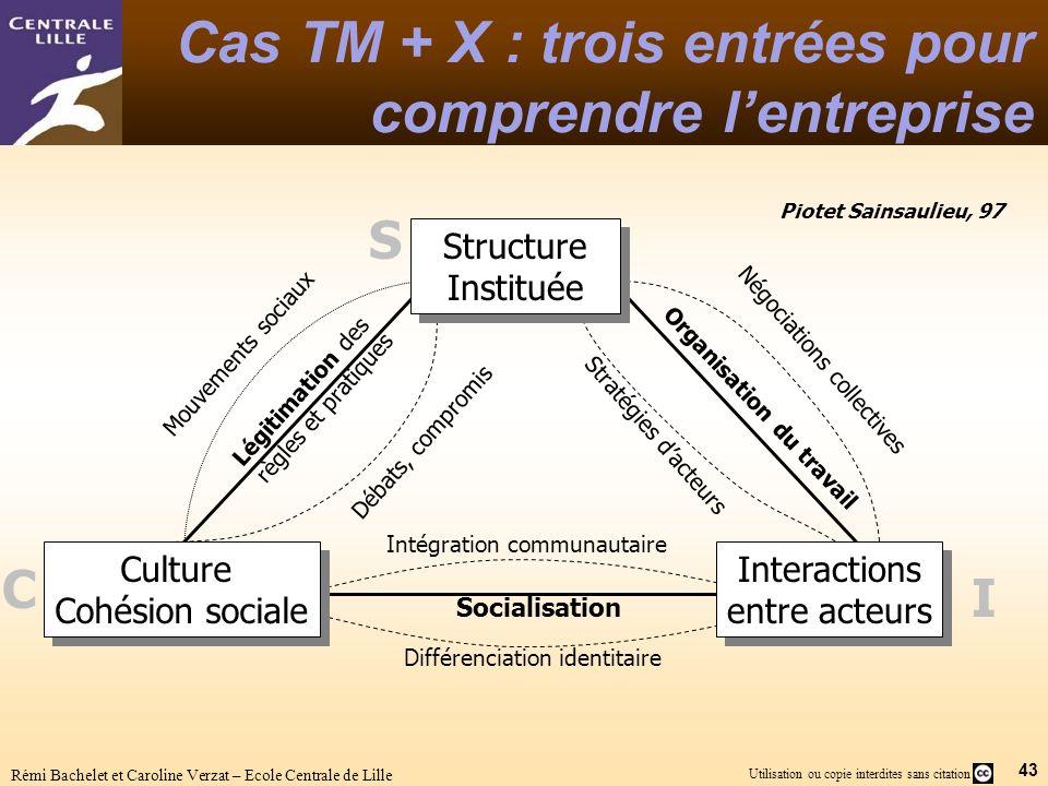 43 Utilisation ou copie interdites sans citation Rémi Bachelet et Caroline Verzat – Ecole Centrale de Lille Cas TM + X : trois entrées pour comprendre