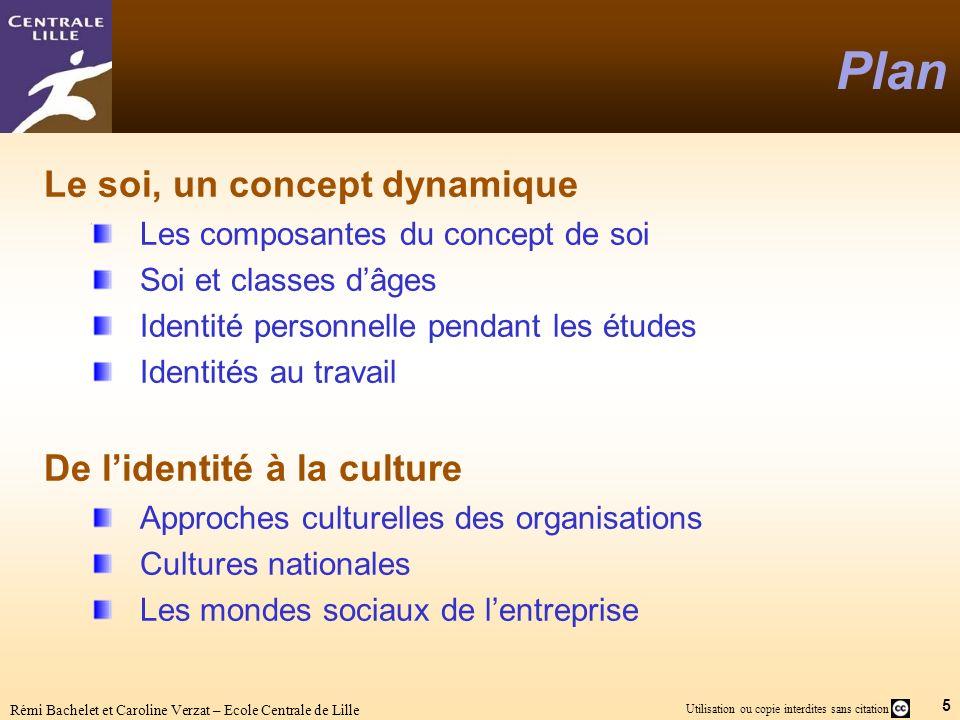 5 Utilisation ou copie interdites sans citation Rémi Bachelet et Caroline Verzat – Ecole Centrale de Lille Plan Le soi, un concept dynamique Les compo