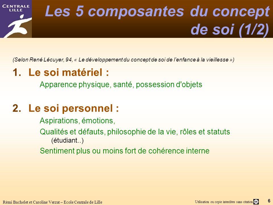 6 Utilisation ou copie interdites sans citation Rémi Bachelet et Caroline Verzat – Ecole Centrale de Lille Les 5 composantes du concept de soi (1/2) (