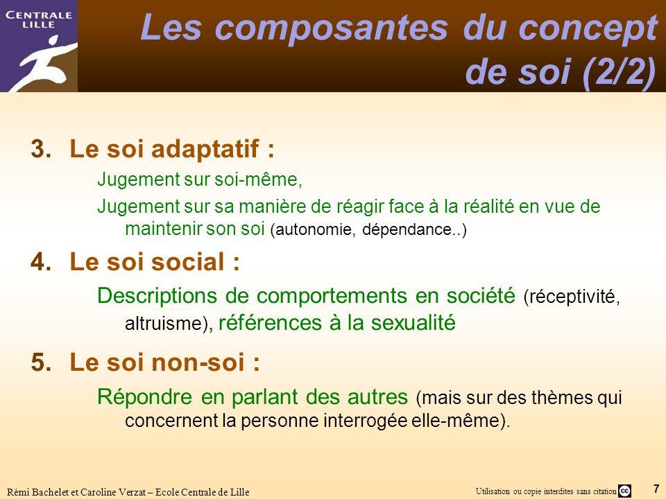 7 Utilisation ou copie interdites sans citation Rémi Bachelet et Caroline Verzat – Ecole Centrale de Lille Les composantes du concept de soi (2/2) 3.L
