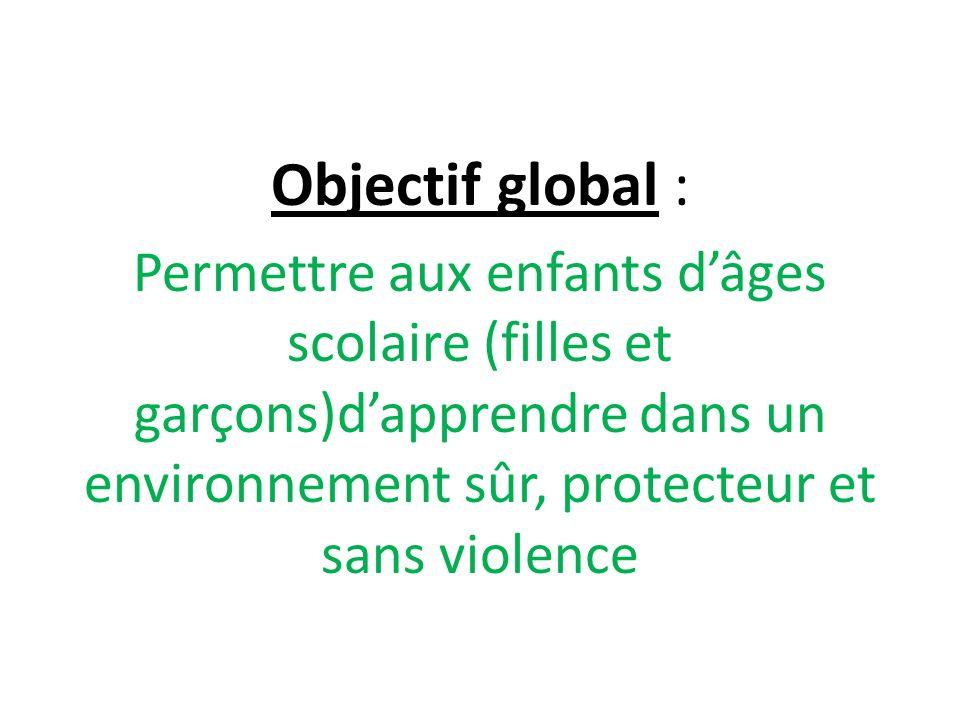 Objectif global : Permettre aux enfants dâges scolaire (filles et garçons)dapprendre dans un environnement sûr, protecteur et sans violence