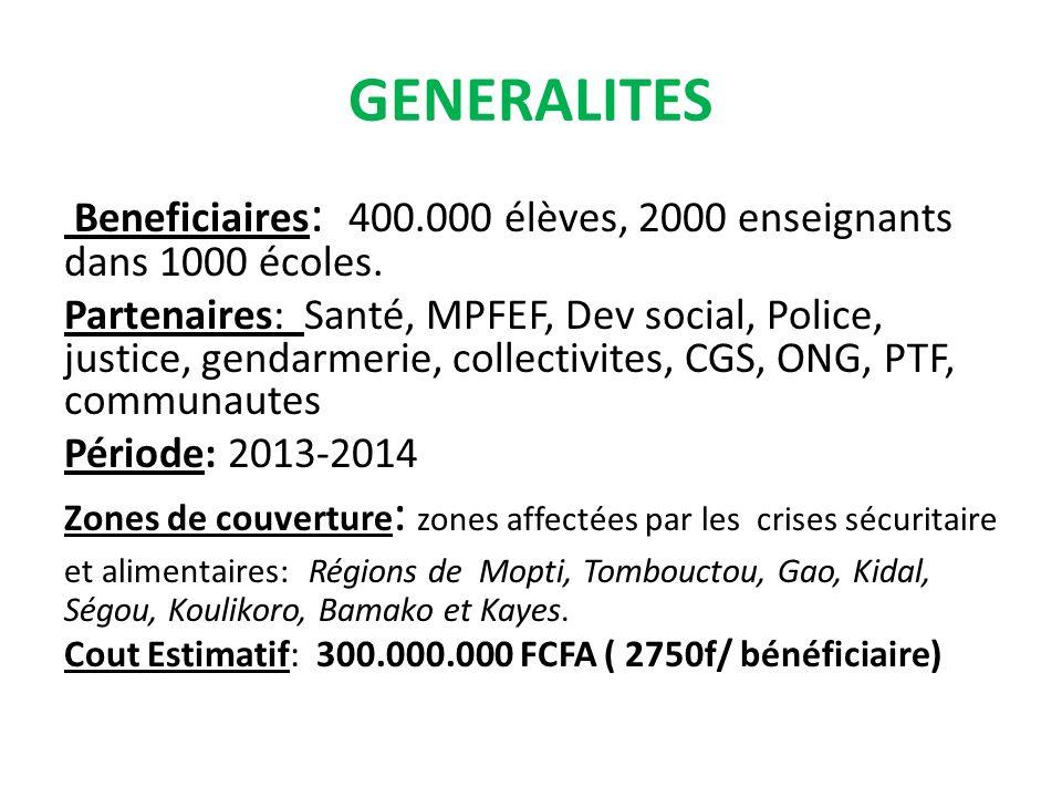 GENERALITES Beneficiaires : 400.000 élèves, 2000 enseignants dans 1000 écoles.