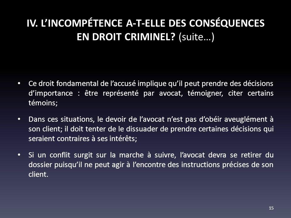 IV. LINCOMPÉTENCE A-T-ELLE DES CONSÉQUENCES EN DROIT CRIMINEL? (suite…) Ce droit fondamental de laccusé implique quil peut prendre des décisions dimpo