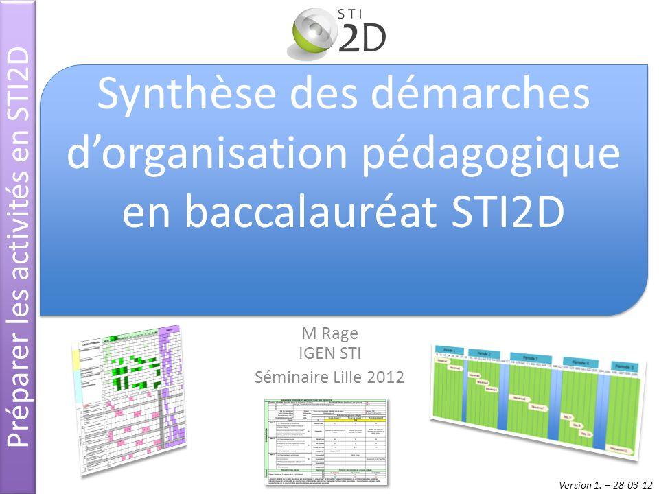 M Rage IGEN STI Séminaire Lille 2012 Préparer les activités en STI2D Synthèse des démarches dorganisation pédagogique en baccalauréat STI2D Version 1.