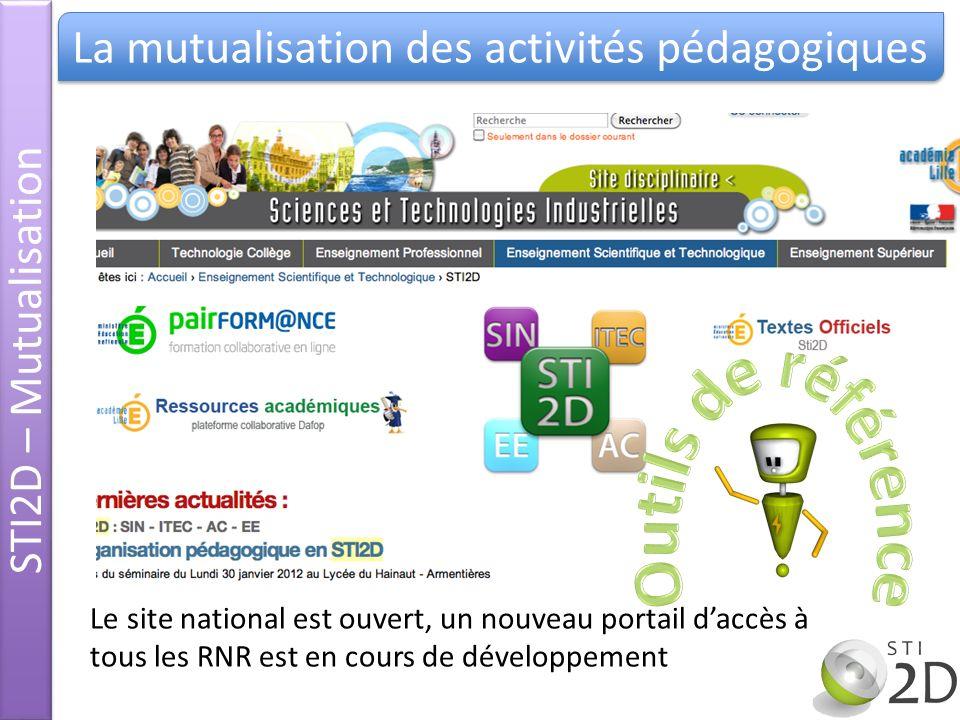 STI2D – Mutualisation La mutualisation des activités pédagogiques Le site national est ouvert, un nouveau portail daccès à tous les RNR est en cours d