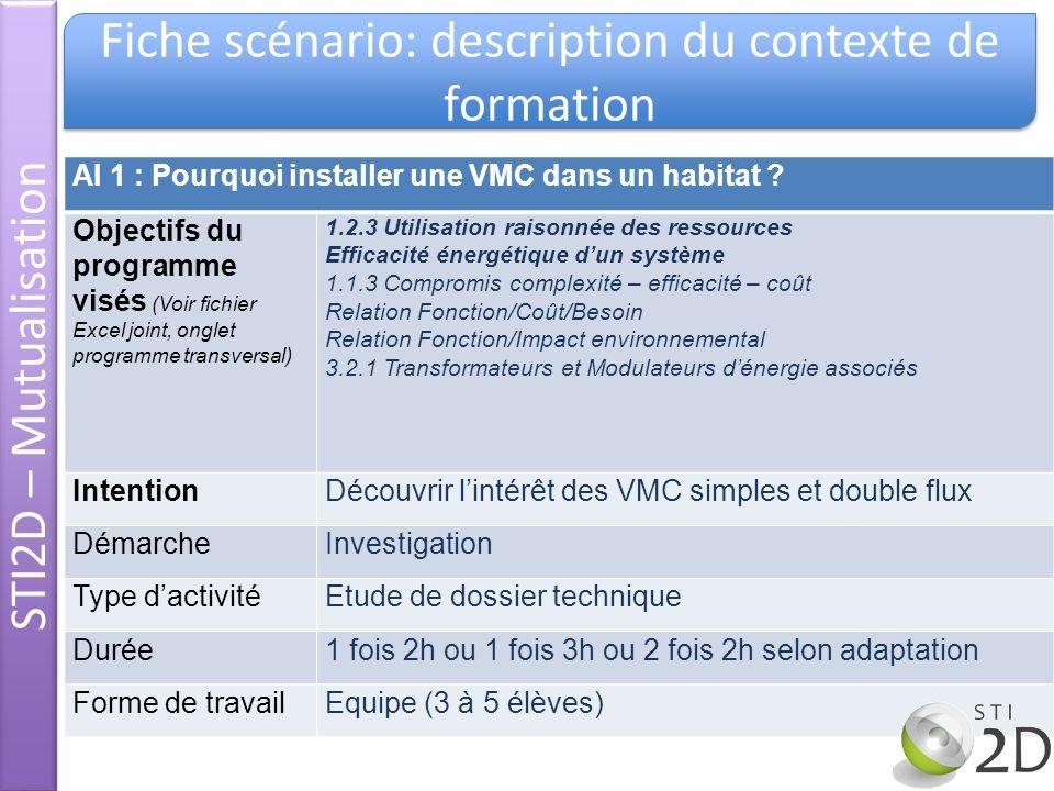 Fiche scénario: description du contexte de formation AI 1 : Pourquoi installer une VMC dans un habitat ? Objectifs du programme visés (Voir fichier Ex