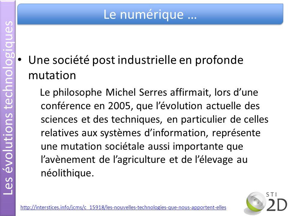 Une société post industrielle en profonde mutation Le philosophe Michel Serres affirmait, lors dune conférence en 2005, que lévolution actuelle des sc