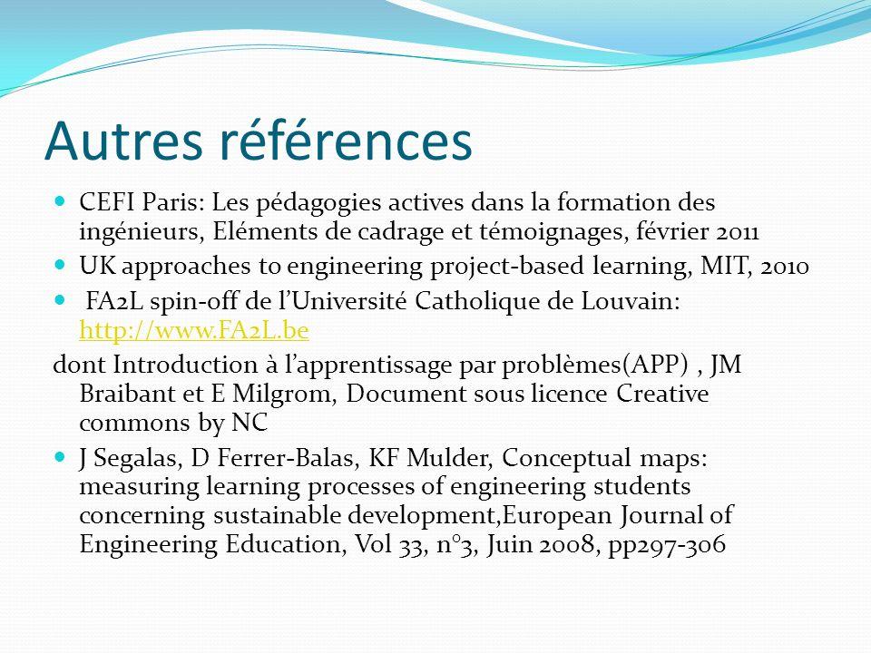 Autres références CEFI Paris: Les pédagogies actives dans la formation des ingénieurs, Eléments de cadrage et témoignages, février 2011 UK approaches to engineering project-based learning, MIT, 2010 FA2L spin-off de lUniversité Catholique de Louvain: http://www.FA2L.be http://www.FA2L.be dont Introduction à lapprentissage par problèmes(APP), JM Braibant et E Milgrom, Document sous licence Creative commons by NC J Segalas, D Ferrer-Balas, KF Mulder, Conceptual maps: measuring learning processes of engineering students concerning sustainable development,European Journal of Engineering Education, Vol 33, n°3, Juin 2008, pp297-306