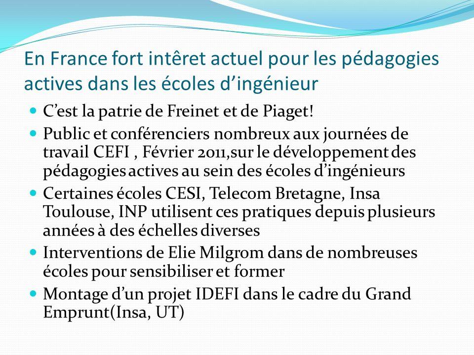 En France fort intêret actuel pour les pédagogies actives dans les écoles dingénieur Cest la patrie de Freinet et de Piaget.