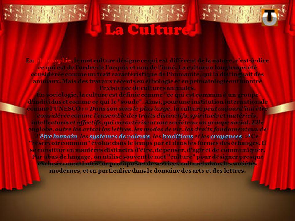 La Culture En philosophie, le mot culture désigne ce qui est différent de la nature, c est-à-dire ce qui est de l ordre de l acquis et non de l inné.