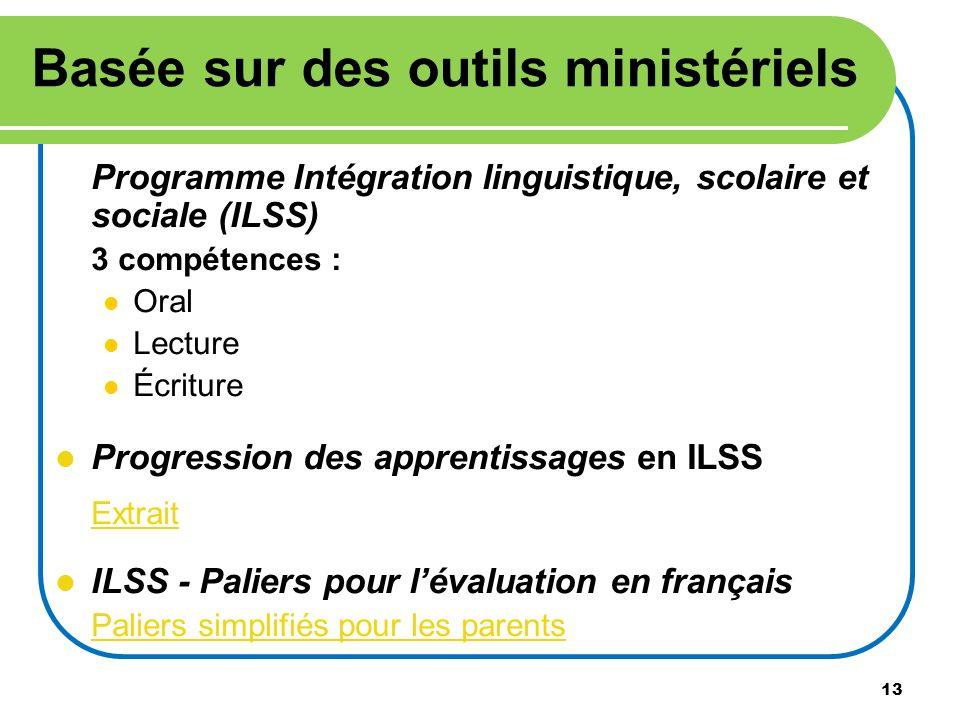 13 Programme Intégration linguistique, scolaire et sociale (ILSS) 3 compétences : Oral Lecture Écriture Progression des apprentissages en ILSS Extrait