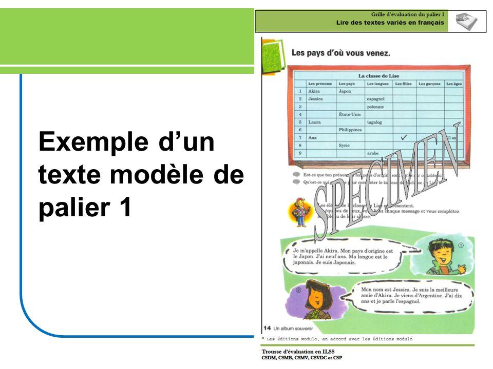 15 Exemple dun texte modèle de palier 1