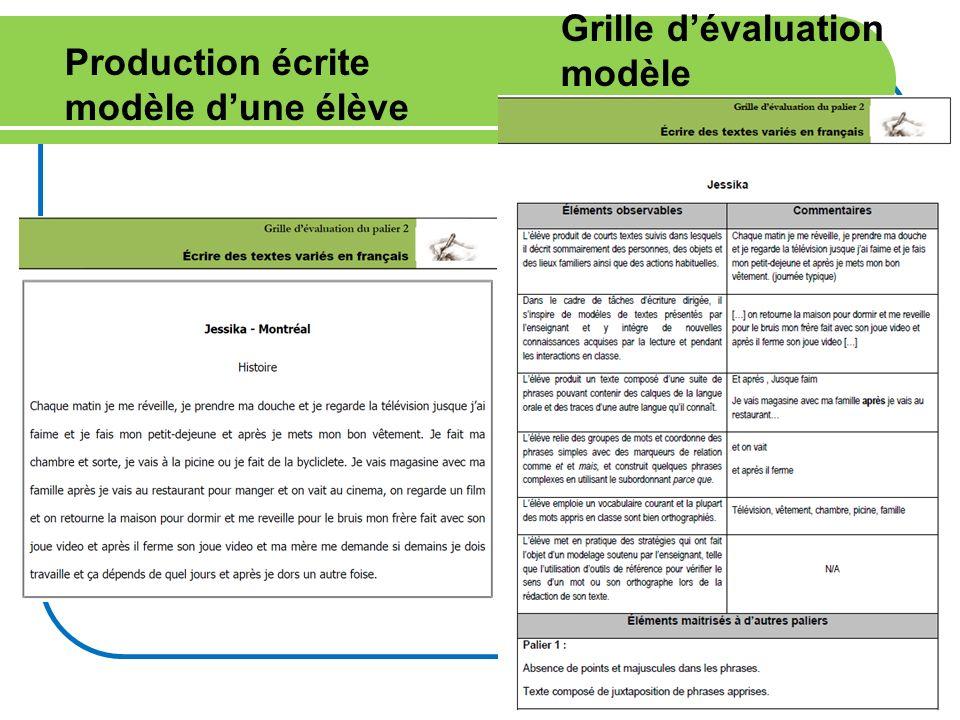 17 Production écrite modèle dune élève Grille dévaluation modèle