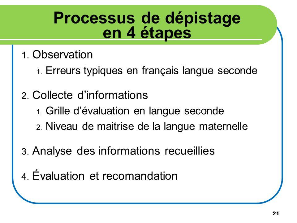 21 Processus de dépistage en 4 étapes 1. Observation 1. Erreurs typiques en français langue seconde 2. Collecte dinformations 1. Grille dévaluation en