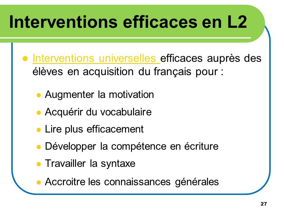 27 Interventions efficaces en L2 Interventions universelles efficaces auprès des élèves en acquisition du français pour : Interventions universelles A