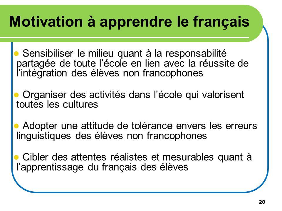 28 Motivation à apprendre le français Sensibiliser le milieu quant à la responsabilité partagée de toute lécole en lien avec la réussite de lintégrati
