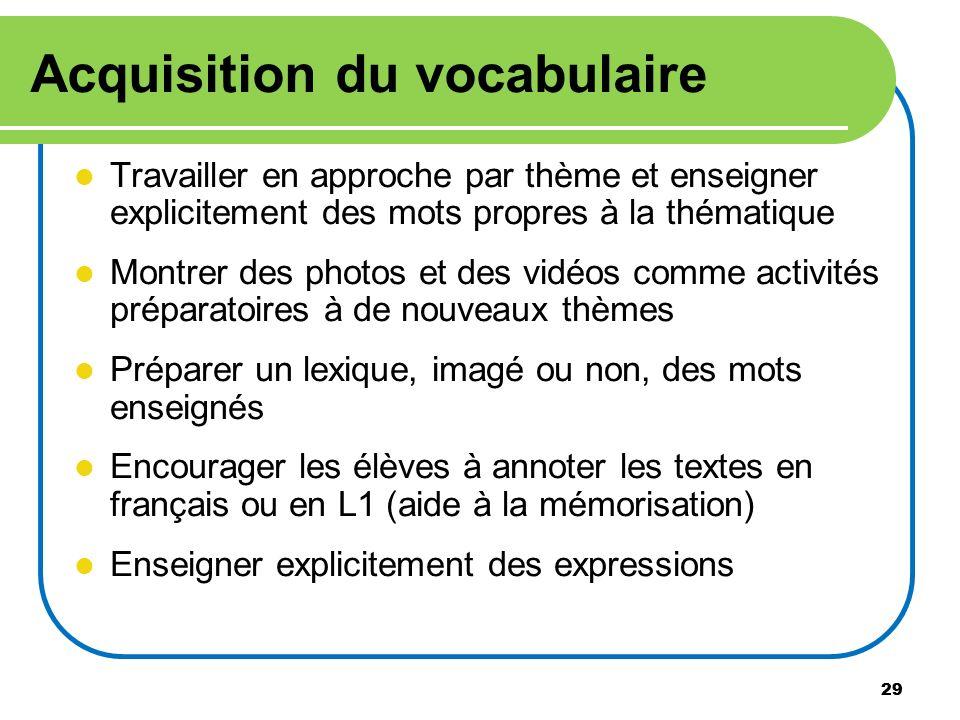 29 Acquisition du vocabulaire Travailler en approche par thème et enseigner explicitement des mots propres à la thématique Montrer des photos et des v