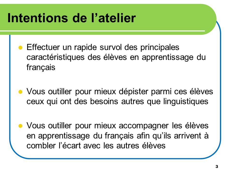 3 Intentions de latelier Effectuer un rapide survol des principales caractéristiques des élèves en apprentissage du français Vous outiller pour mieux