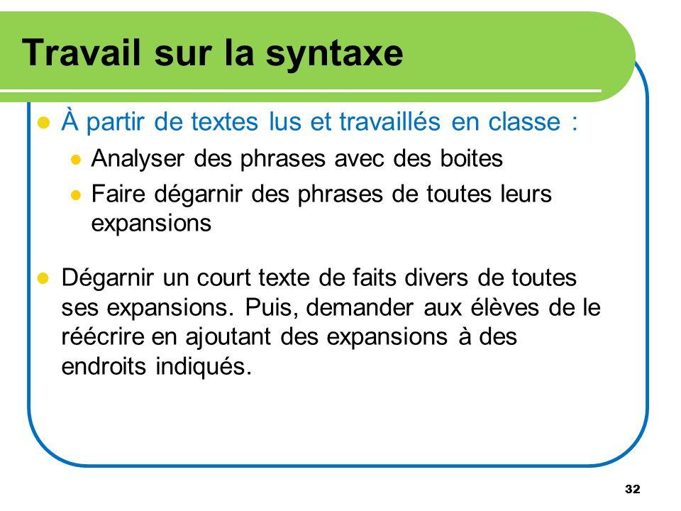 32 Travail sur la syntaxe À partir de textes lus et travaillés en classe : Analyser des phrases avec des boites Faire dégarnir des phrases de toutes l