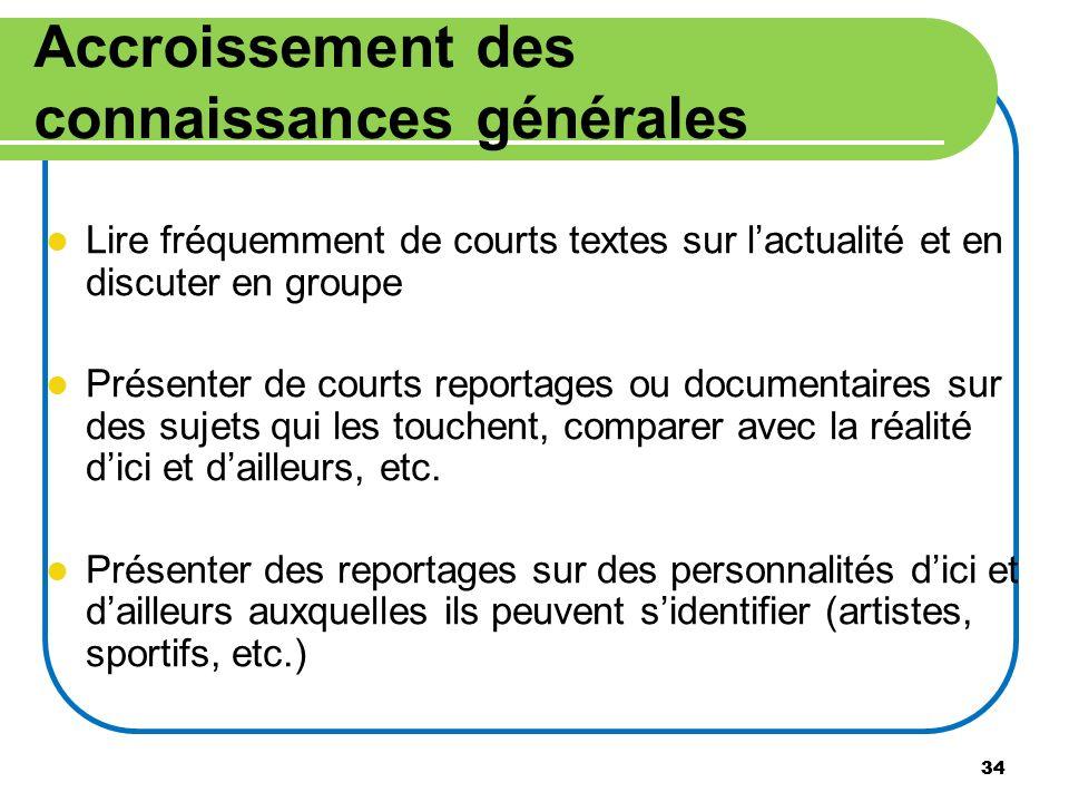 34 Accroissement des connaissances générales Lire fréquemment de courts textes sur lactualité et en discuter en groupe Présenter de courts reportages