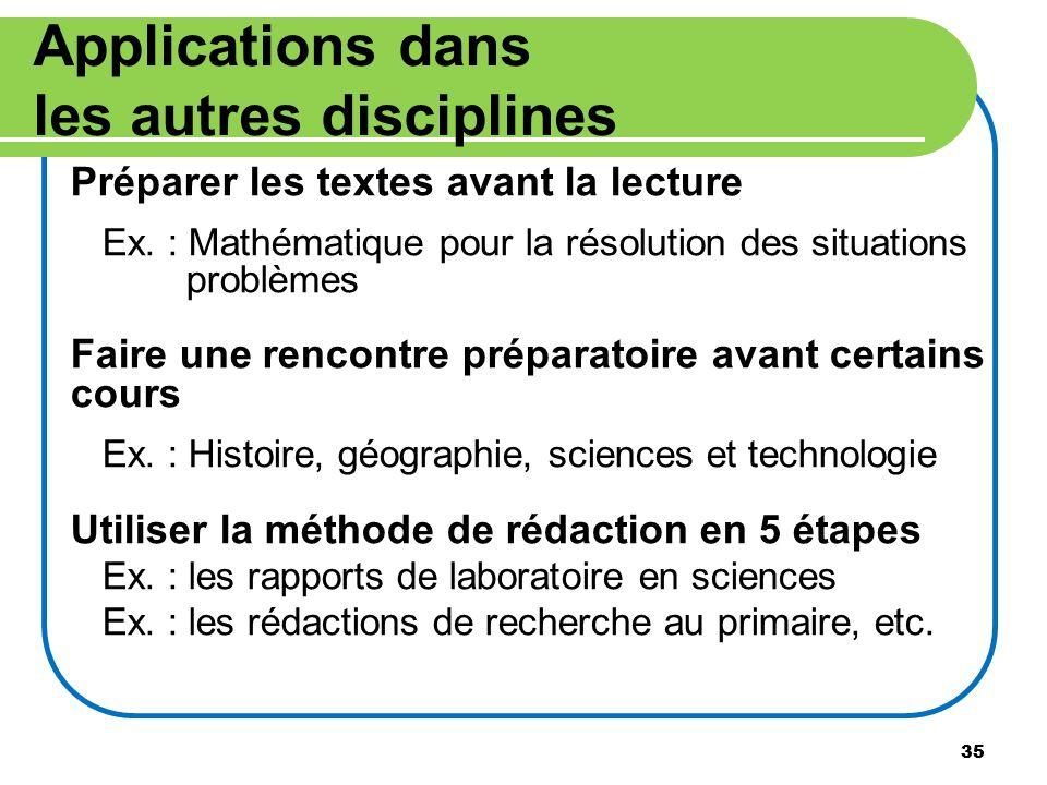 35 Applications dans les autres disciplines Préparer les textes avant la lecture Ex. : Mathématique pour la résolution des situations problèmes Faire