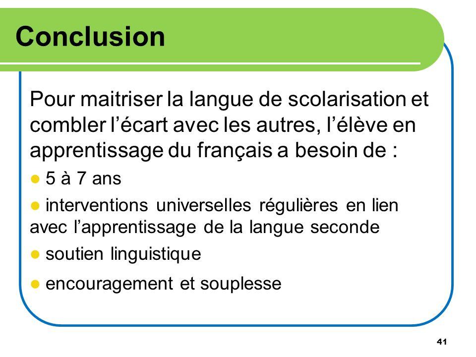 41 Conclusion Pour maitriser la langue de scolarisation et combler lécart avec les autres, lélève en apprentissage du français a besoin de : 5 à 7 ans