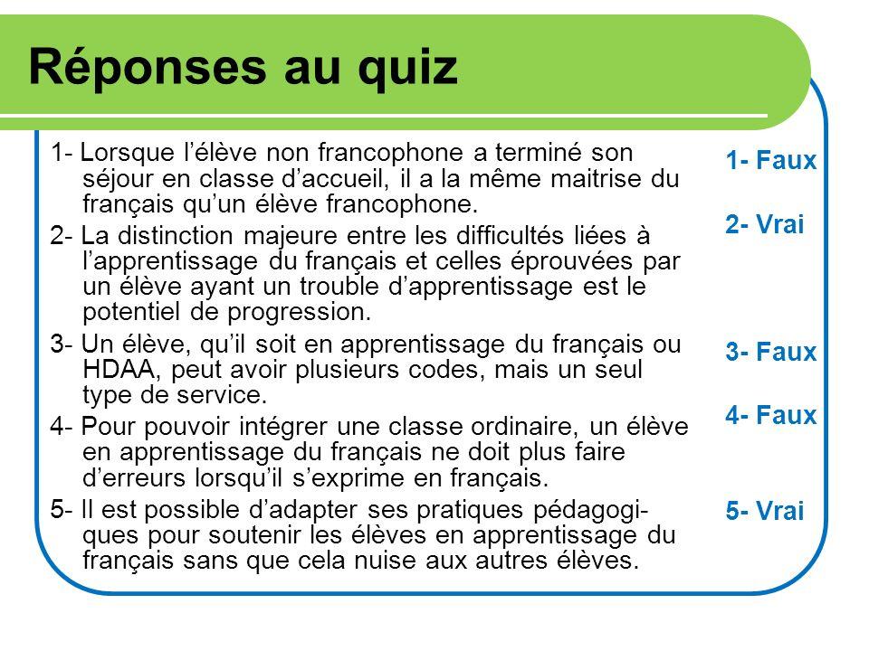 Réponses au quiz 1- Lorsque lélève non francophone a terminé son séjour en classe daccueil, il a la même maitrise du français quun élève francophone.