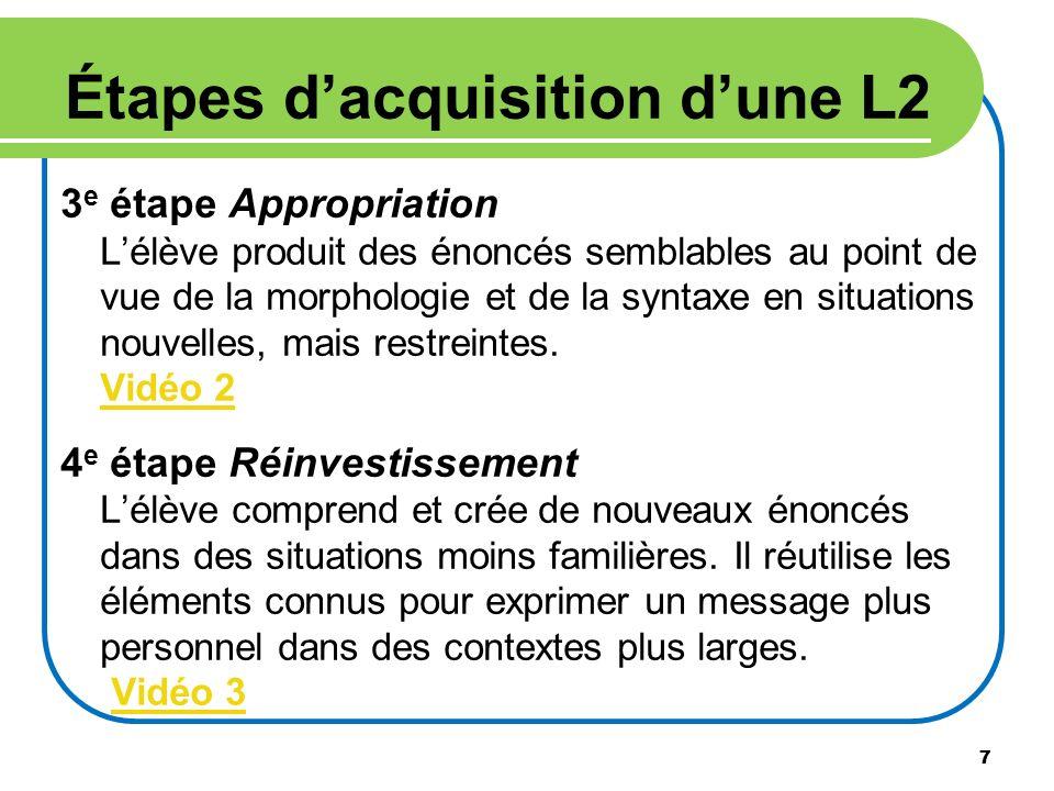 7 Étapes dacquisition dune L2 3 e étape Appropriation Lélève produit des énoncés semblables au point de vue de la morphologie et de la syntaxe en situ