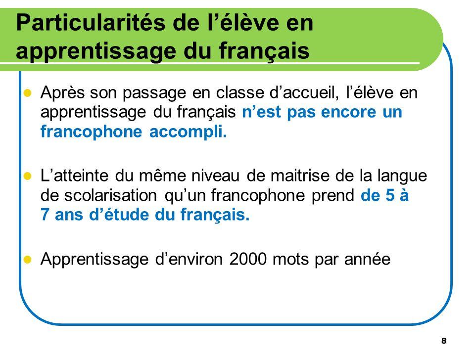 8 Particularités de lélève en apprentissage du français Après son passage en classe daccueil, lélève en apprentissage du français nest pas encore un f