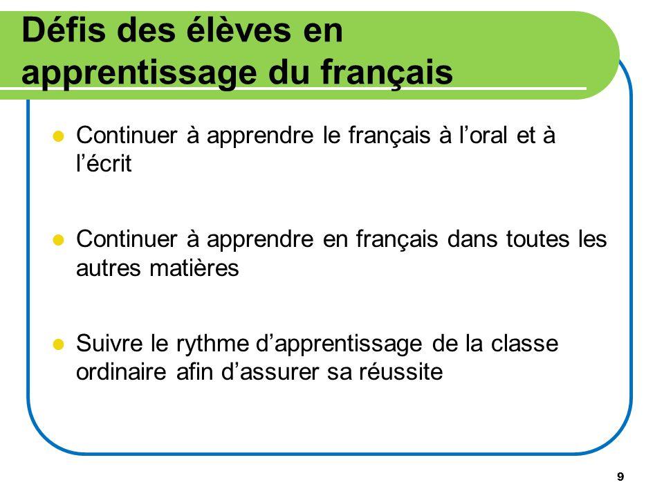 9 Défis des élèves en apprentissage du français Continuer à apprendre le français à loral et à lécrit Continuer à apprendre en français dans toutes le