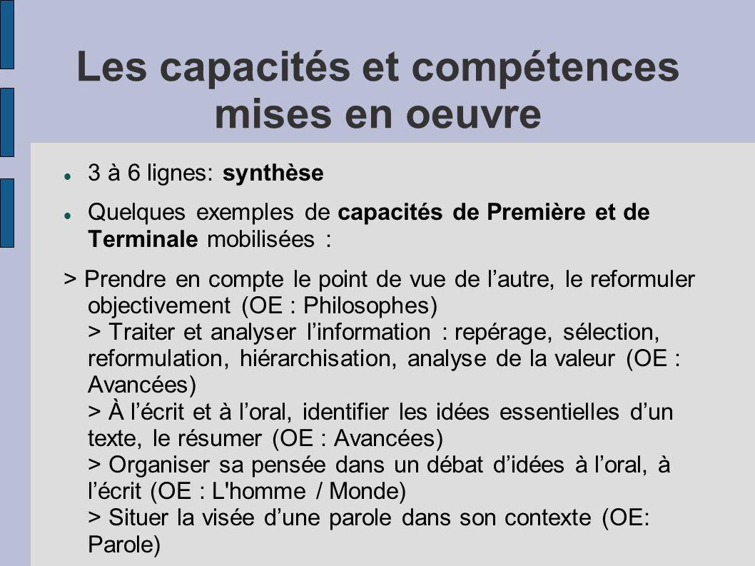 Les capacités et compétences mises en oeuvre 3 à 6 lignes: synthèse Quelques exemples de capacités de Première et de Terminale mobilisées : > Prendre